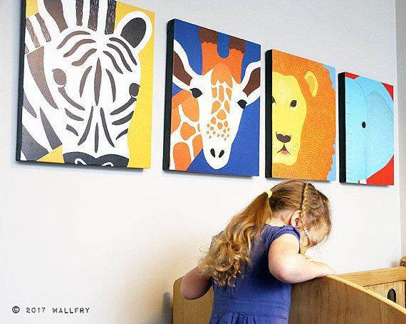 Nursery decor, SET OF ANY 4 safari animal canvas wrap series ...