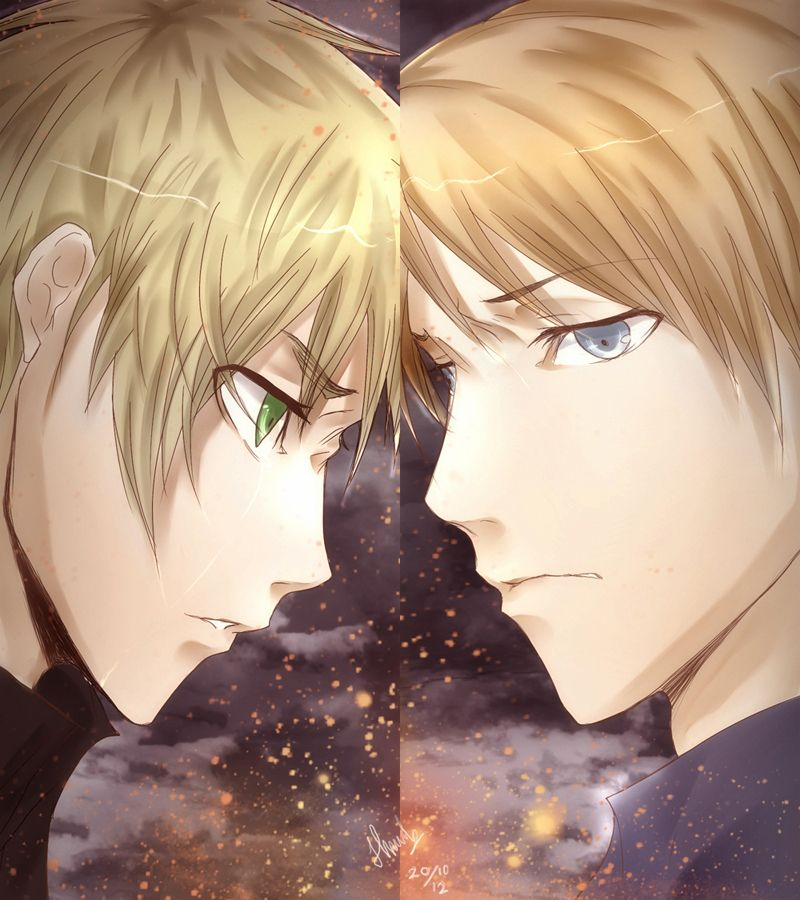 """usuk by IchiRuki22.deviantart.com on @deviantART - Arthur and Alfred face-off. This is actually reminding me of all the various Hetalia fan videos I've seen concerning the American Revolution using the Plagues song from """"The Prince of Egypt""""."""