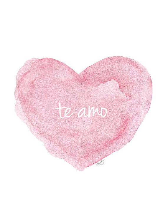 Te Amo Spanish Nursery Art 40x40 Pink Watercolor Print Love Quote Stunning Te Amo Quotes