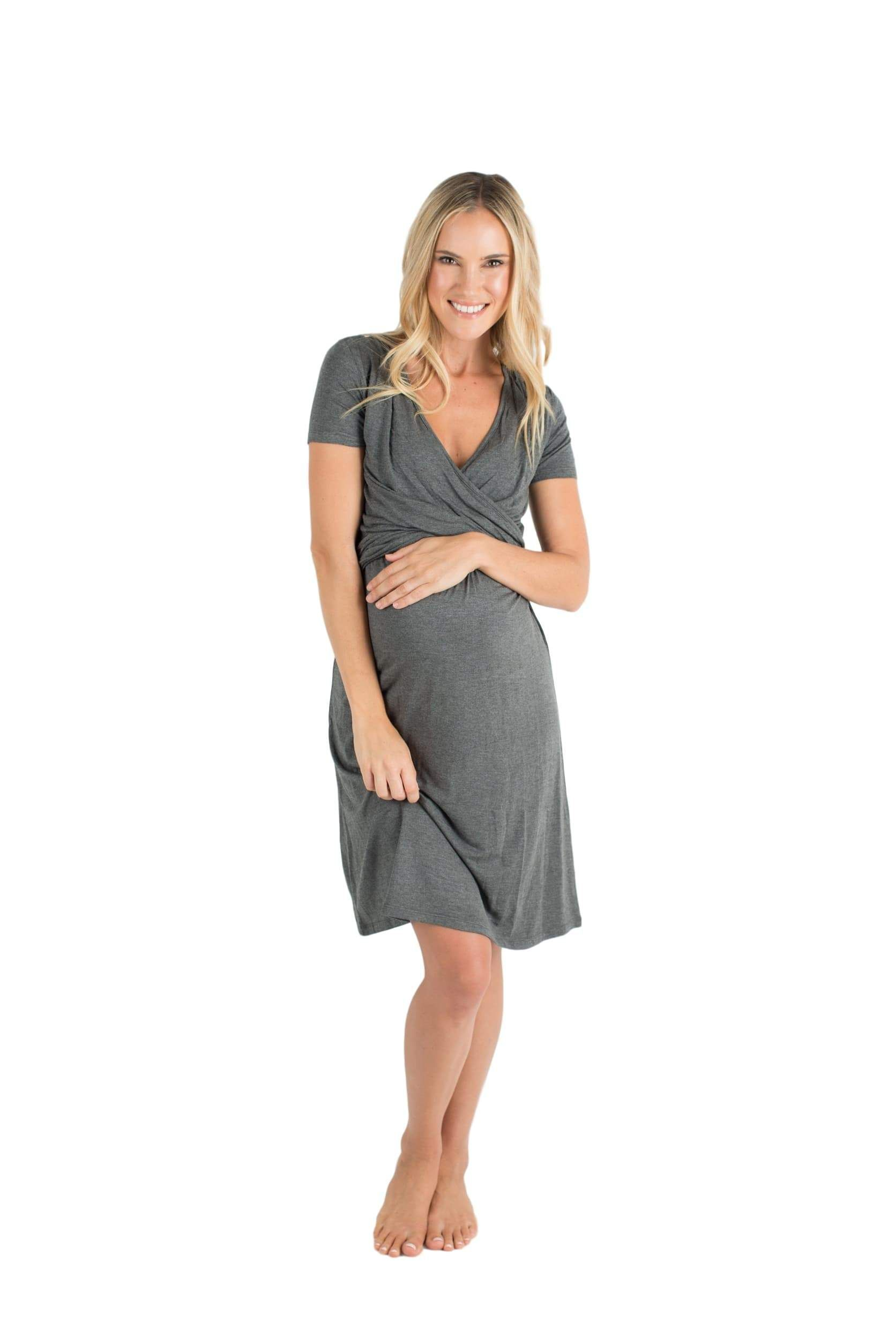 The alyssa ultra soft maternity u nursing nightgown dress dark grey