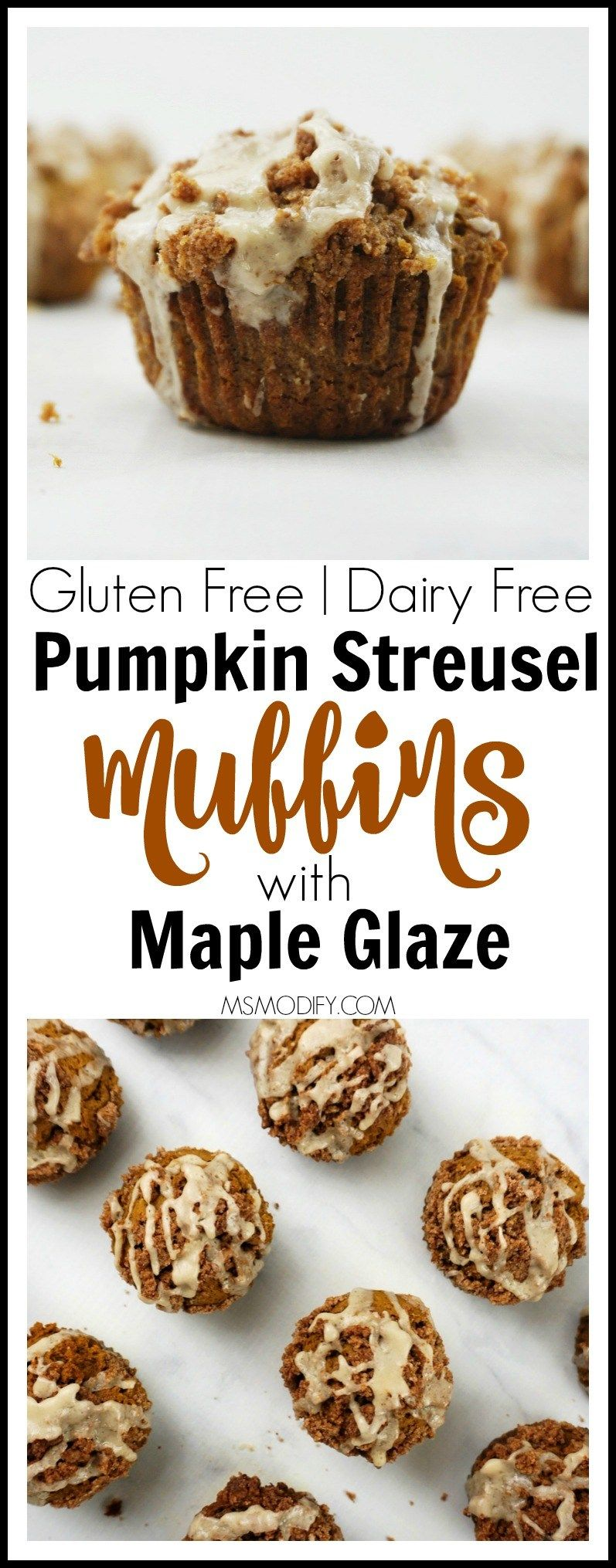 Gluten Free Pumpkin Streusel Muffins with Maple Glaze - MsModify #glutenfreebreakfasts