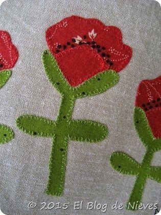 Trio de Amapolas Patchwork Quilting red home applique quilt natalie bird