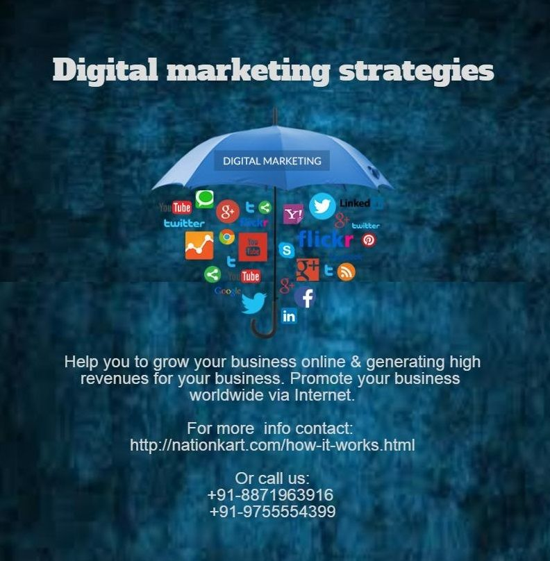 Digital marketing is a strategy focused on increasing the reach and visibility of your business worldwide via the internet. For more info contact: http://nationkart.com/contact-us.html