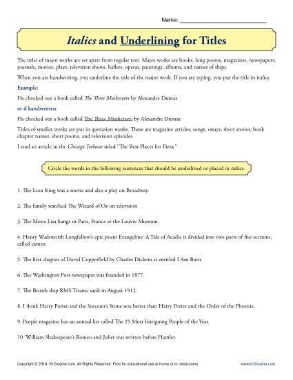 italics and underlining for titles education worksheets grammar worksheets 5th grade grammar. Black Bedroom Furniture Sets. Home Design Ideas
