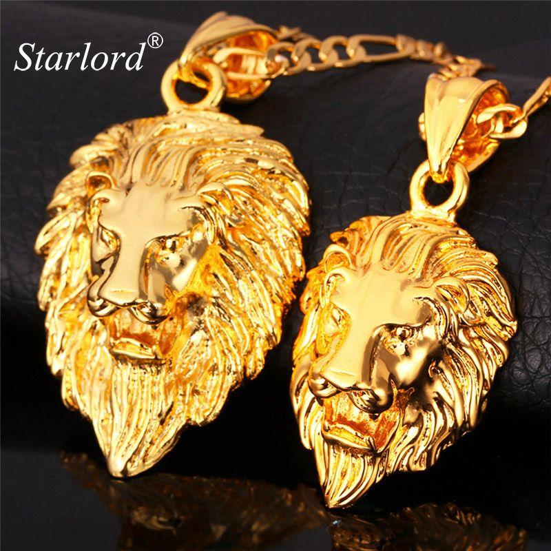 Hot Hip Hop Jewelry Big Lion Head Pendant Gold Color Figaro Chain For Men  Kpop Statement Necklace Collier Wholesale P215  Affiliate 2d30f5e63