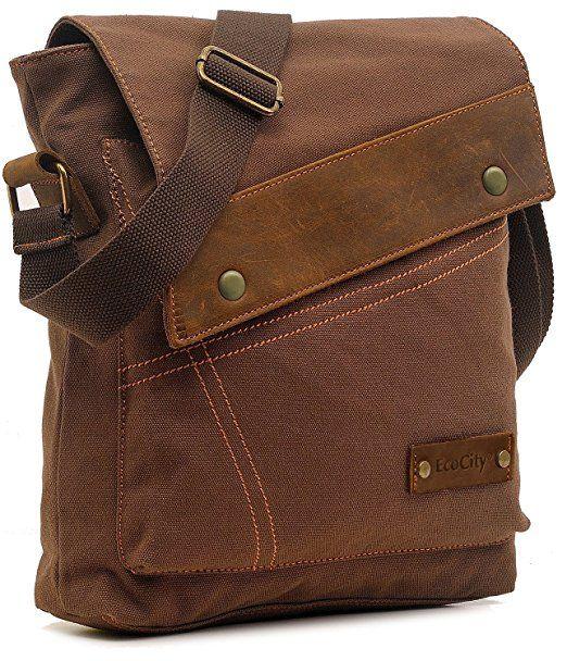267d4a4702 Amazon.com   EcoCity Vintage Small Canvas Messenger Bag Shoulder Bag iPad  Bags For Men   Women MB0002C2 (Coffee)   Clothing