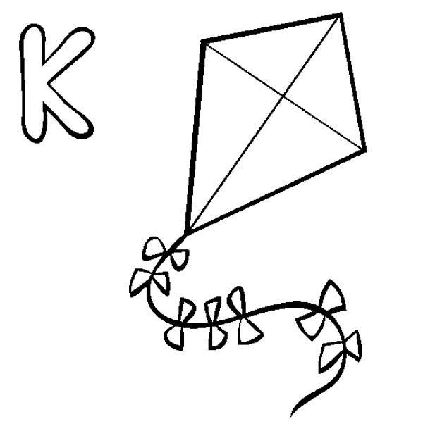 Learning Alphabet Letter K Coloring Page Bulk Color in