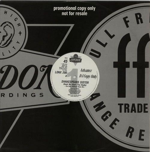 Shakespear S Sister Break My Heart Uk Promo 12 Vinyl Single 12 Inch Record Maxi Single 20785 Vintage Vinyl Records Rare Vinyl Records Vinyl