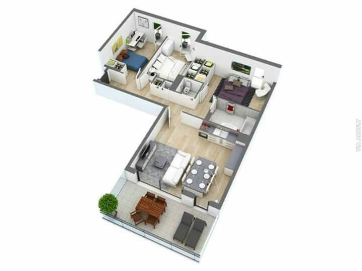 Pin By Anees Dzin On Isometric L Shaped House 3d House Plans L Shaped House Plans