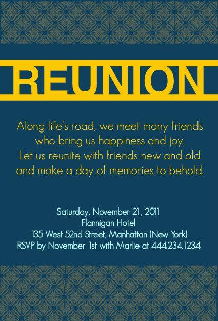 Bold Blue Reunion Invitation By Purpletrail Com Reunion Ideas