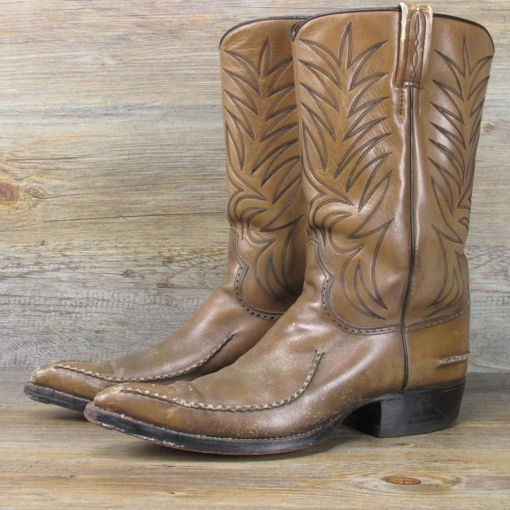 da30c3bfcf0 Vintage Dan Post Rustic All Leather Stove Pipe Western Cowboy Boots ...
