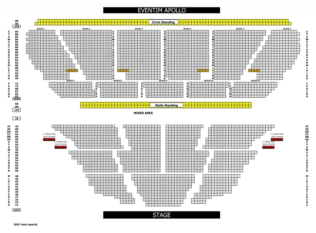 The Elegant o2 apollo seating plan