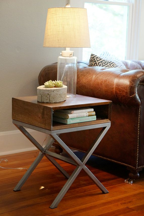 Our Solid Industrial Mid Century Inspired End Tables Are Built From