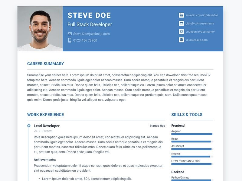 Pillar Free Bootstrap 4 Resumecv Template For Developers Website Template Resume Design Template Resume Template