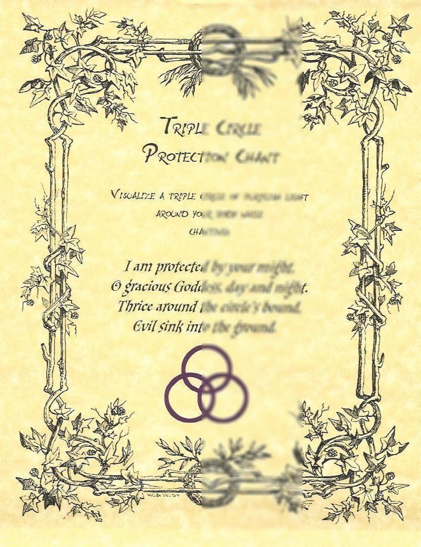 Book Of Shadows Triple Circle Chant Protection Spell Sheet Picclick Com Buch Der Schatten