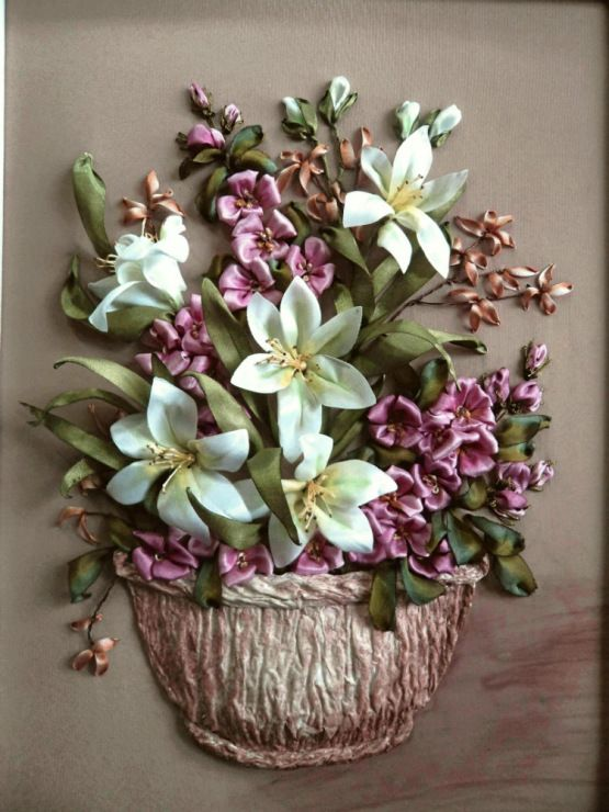 Lilies in a basket #ribbonEmbroidery