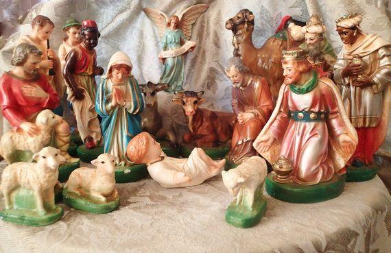 Vintage Antique Nativity Manger Creche Plaster Chalkware Tall Large 17 Piece Set I Have This Set Gorgeo Nativity Set Christmas Manger Vintage Christmas