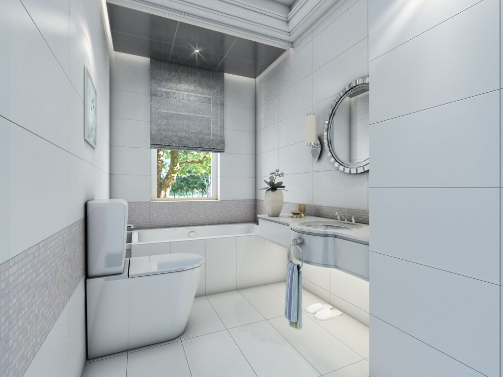 contemporary white bathroom design with glazed ceramic 12467