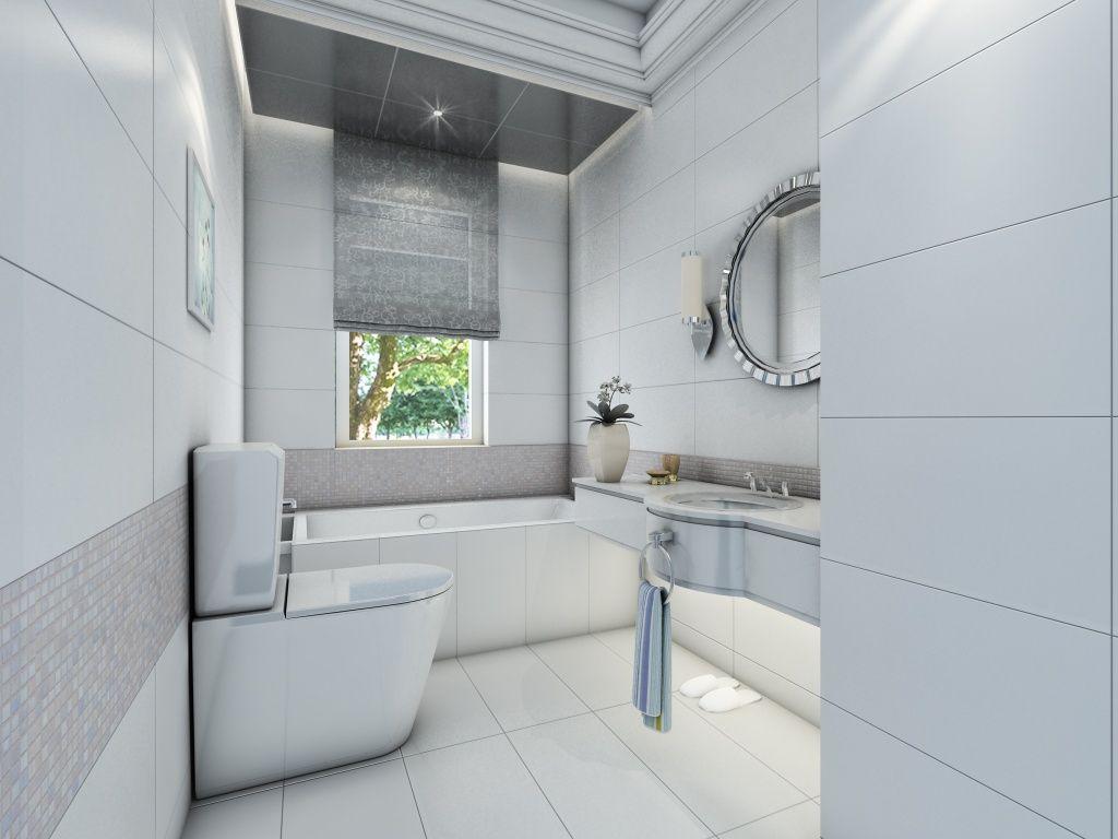 Contemporary white #bathroom design with glazed ceramic #tile ...
