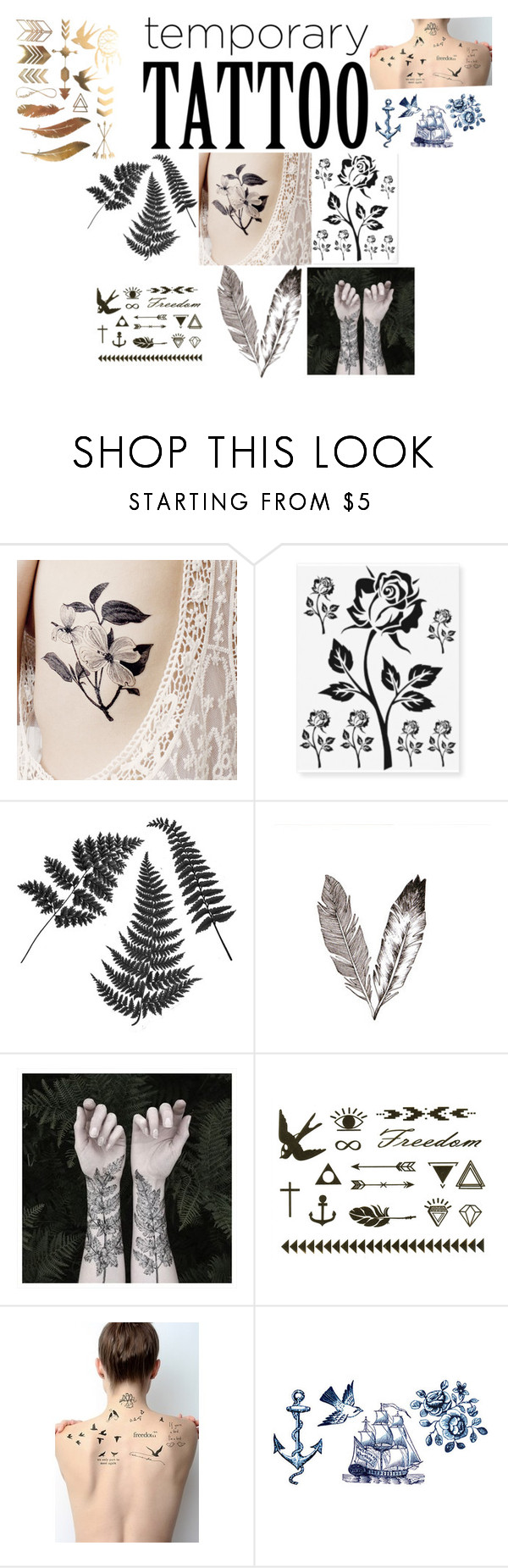 """Temp Tattoos!!!"" by futurestar12 ❤ liked on Polyvore featuring beauty, Nature Girl, Tattify, Tattly and temporarytattoo"