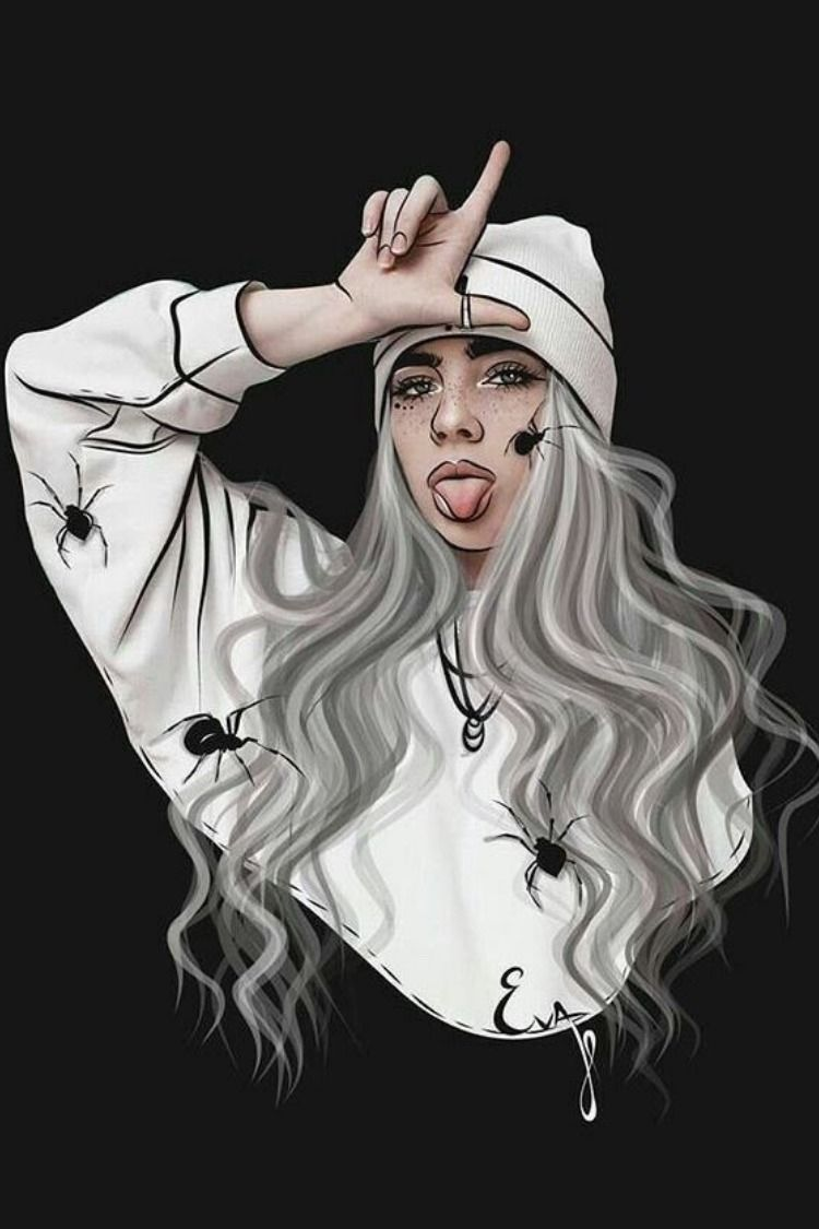 10 Ways To Use Stickers To Flood Your Socials With Billie Eilish Fan Art Create Discover With Picsart Billie Eilish Billie Cartoon Art