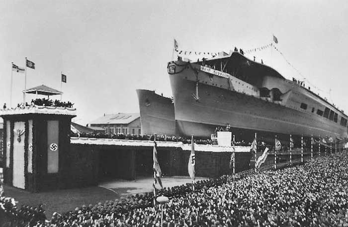 the christening and launch of flugzeugtr ger graf zeppelin in hamburg germany december 8 1938. Black Bedroom Furniture Sets. Home Design Ideas