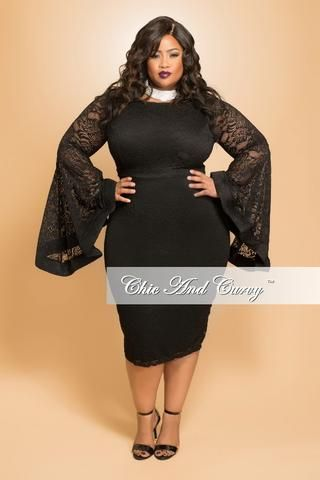 Final Sale Seasonal Plus Size Bodycon Lace Dress With Bell Sleeves