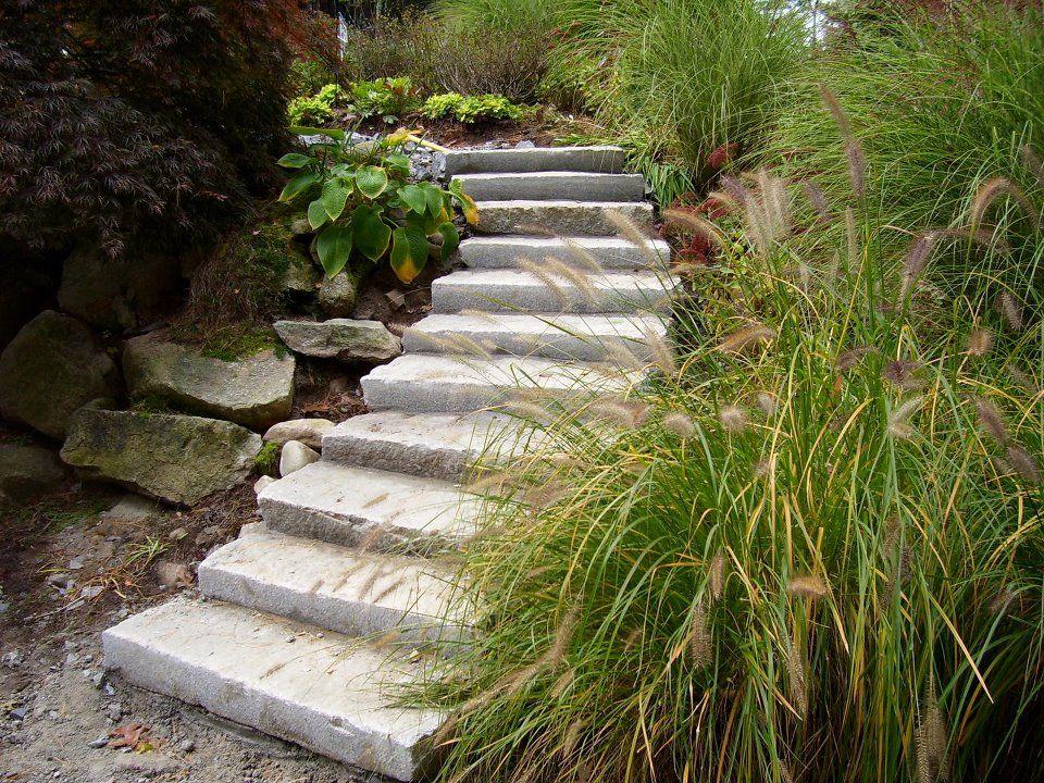 Used Granite Curbing makes Amazing Landscape Steps