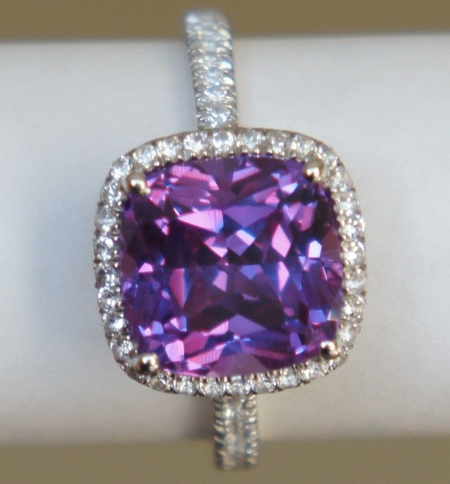Lavender Pink COLOR CHANGE cushion cut halo micropave ring alternative engag