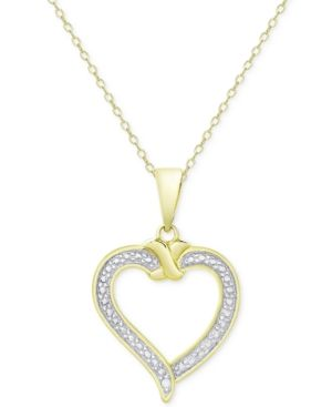 Heart Pendant Necklace in 18k Gold over Sterling Silver - Gold
