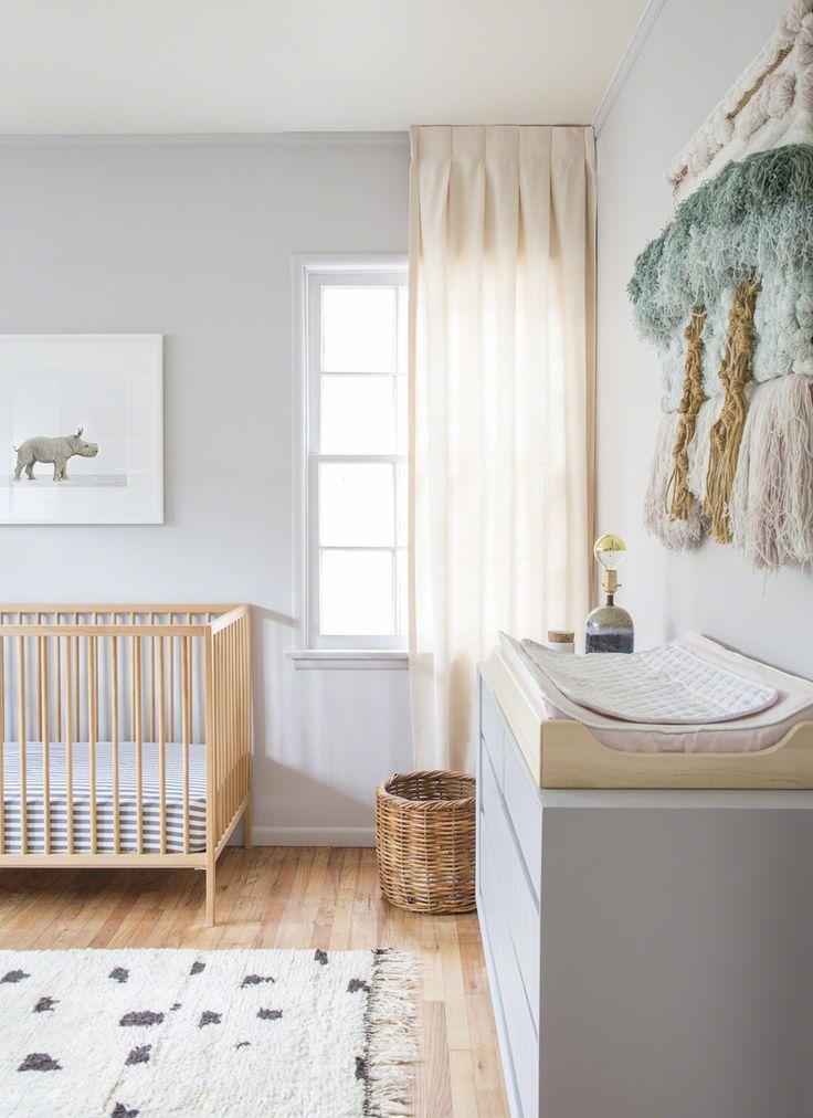 nursery ideas gender neutral baby room natural wood gray baby