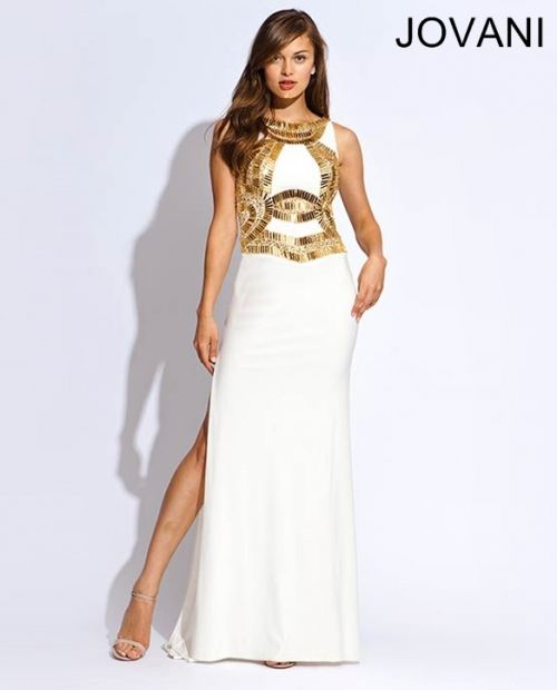 Beautiful long white prom gown 2014 by Jovani with gold ...