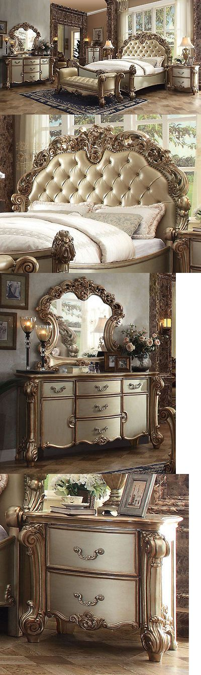 Bedroom Sets 20480 New 5 Pieces Traditional Gold And Cream