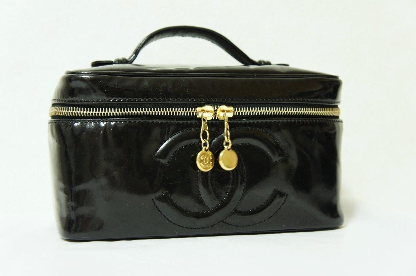 Chanel Black Make Up Travel Case Cc Patent Leather Full