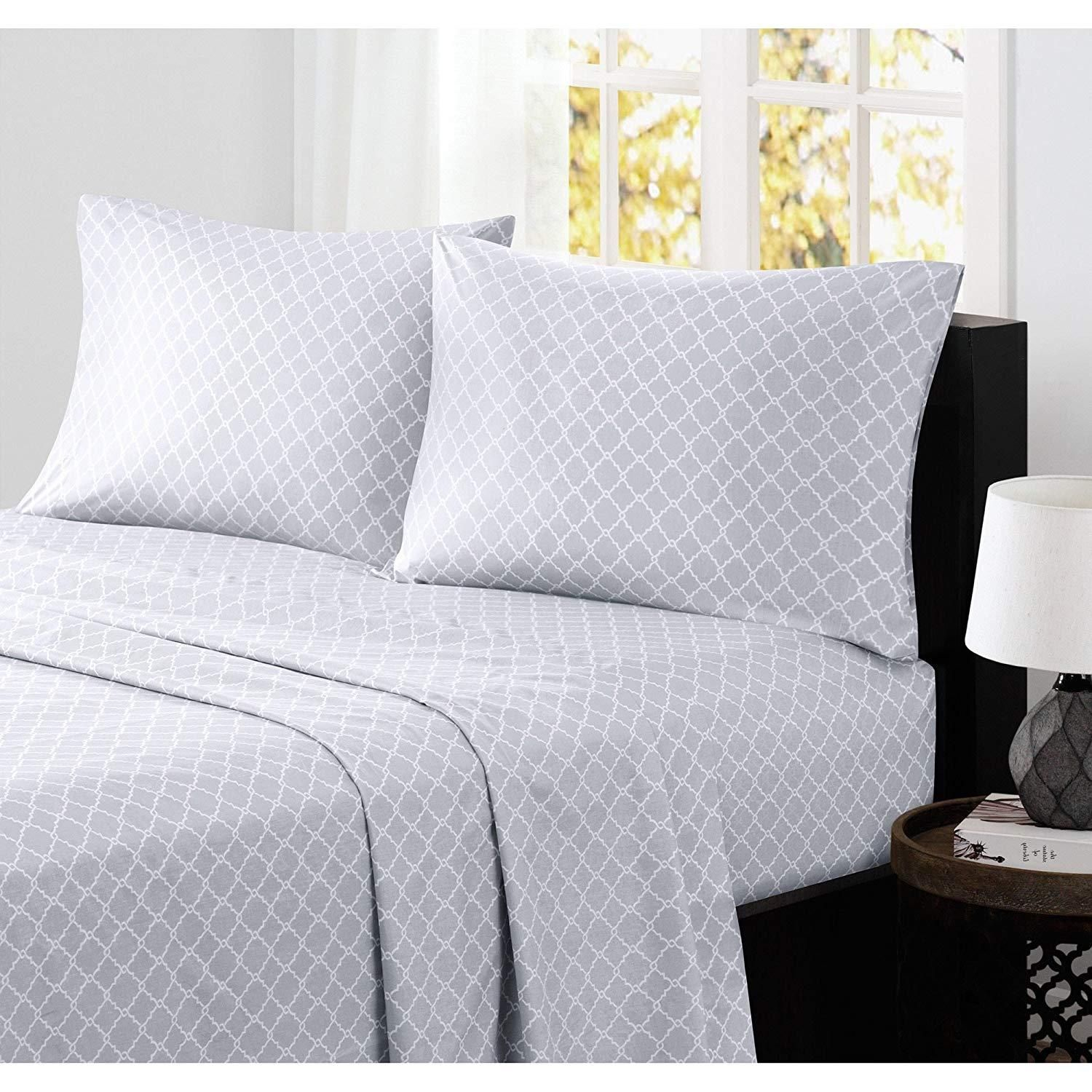 Grey White Geometric Fretwork Pattern Sheets King Set Luxurious Light Gray Moroccan Trellis Bedding Hippie Texture Patterned Sheets Texture Design Queen Sheets