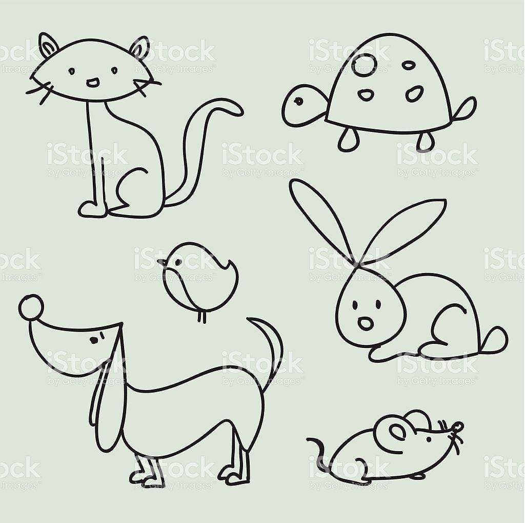 """Hand drawn cartoon pets, vector illustration"""