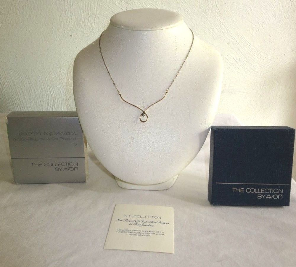 VINTAGE AVON 17 14K GOLD FILLED GENUINE DIAMOND LOOP NECKLACE Avon