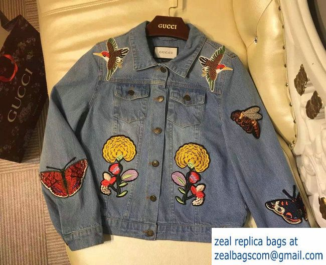 a44eba05b Gucci Embroidered Bird Bee Butterfly and Flowers Denim Jacket 2017 ...