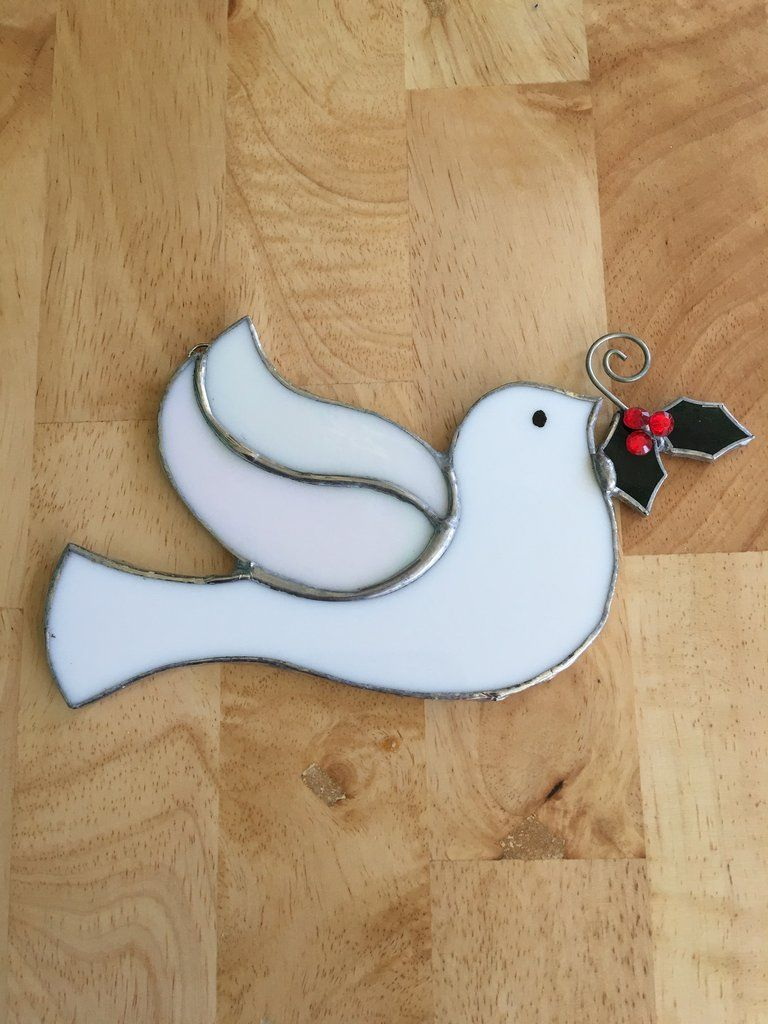 """This beautiful Stained Glass Dove is approximately 6 1/2"""" X 4 1/2"""" and is created using the Tiffany Stained Glass method of copper foil, flux and solder. The h"""