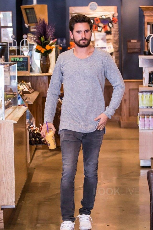 Scott Disick wearing Saint Laurent Slim Fit 17cm Hem Stretch