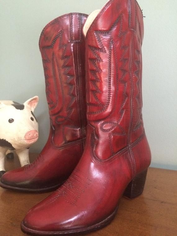 b1b6ae8f8ba Vegan red cowboy boots, faux leather cowboy boots in 2019 | Products ...