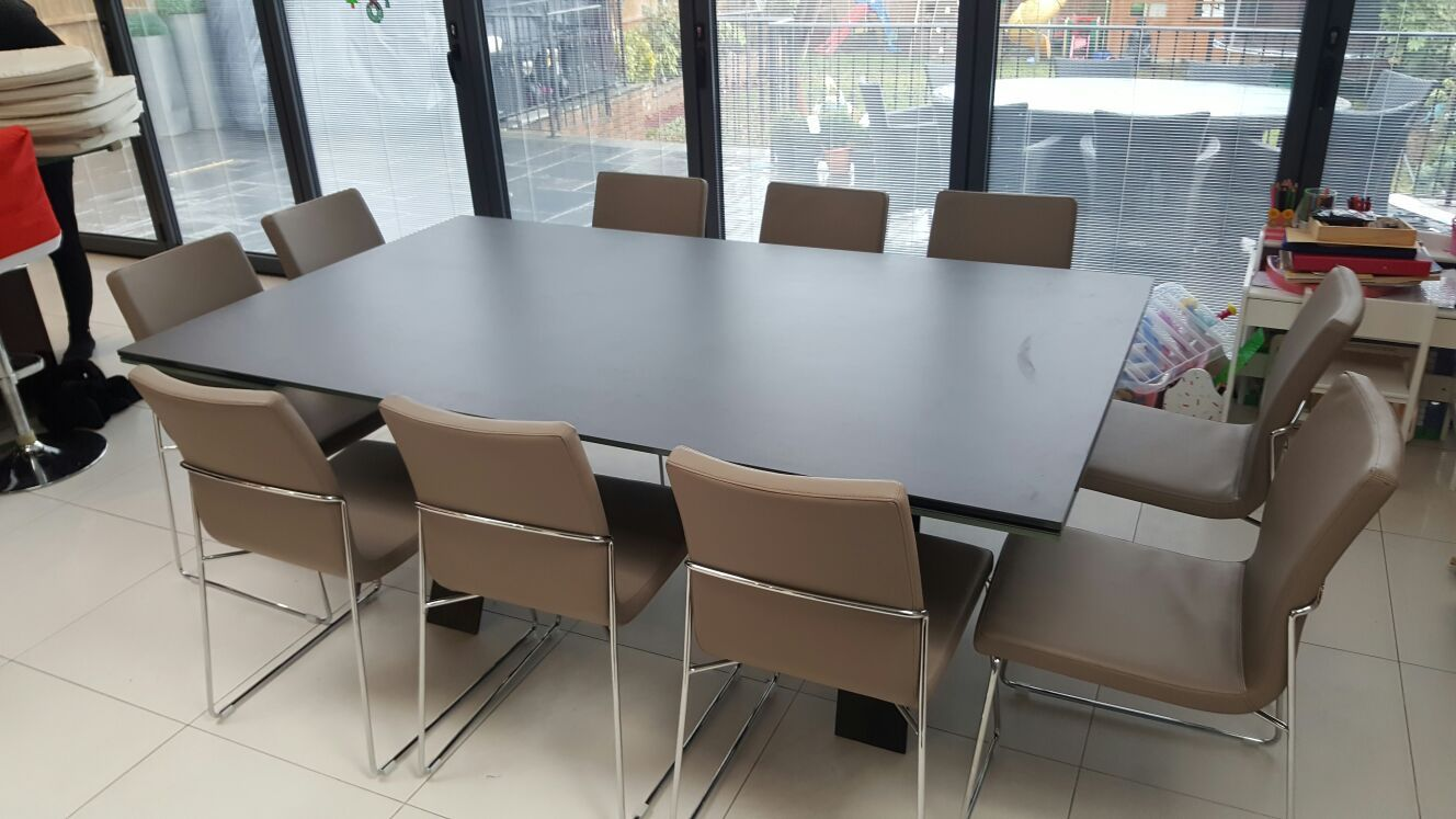 Large Xenon ceramic top extendable dining table with special ceramic ...