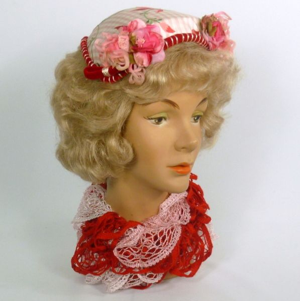 Pink and Red Fascinator Hat 1950s style  BY SHARON PANOZZO #millinery #hatacademy