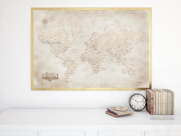 Custom names printable world map with cities in vintage style personalized world map poster in this color combination featuring your names or family name the design is inspired by the vintage sepia gumiabroncs Image collections