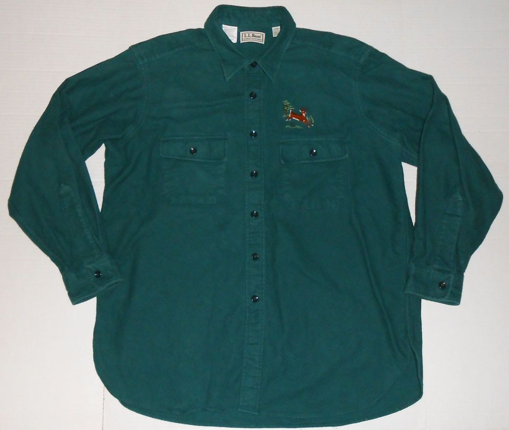Vintage LL BEAN Men's Green Chamois Cloth Flannel Shirt 17 1/2 Embroidered  Deer #