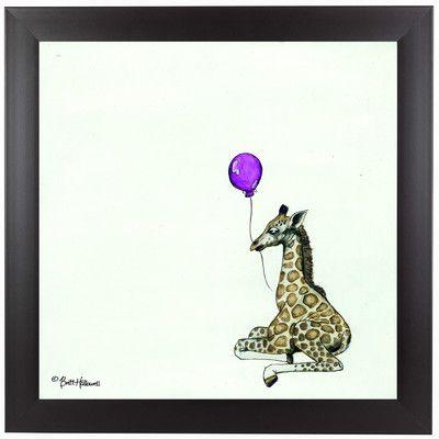 "East Urban Home Nursery Giraffe by Britt Hallowell Framed Painting Print Size: 13.5"" H x 13.5"" W x 1"" D"