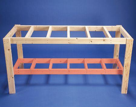 How To Build A Diy Wood Workbench Super Simple 50 Bench Werkbank Ideeen Werkbank Opberg Garage