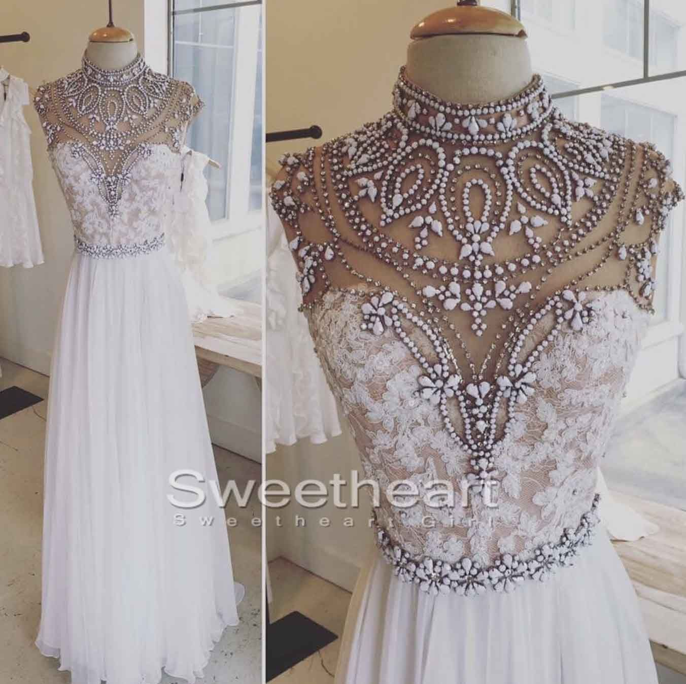 White aline lace long prom dress white evening dres my favorite