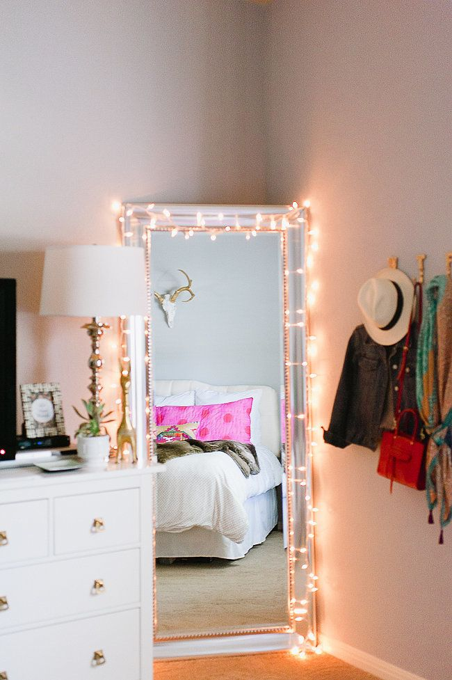Fairy Lights Strewn On A Mirror Vanity Bedroom Diy Furniture