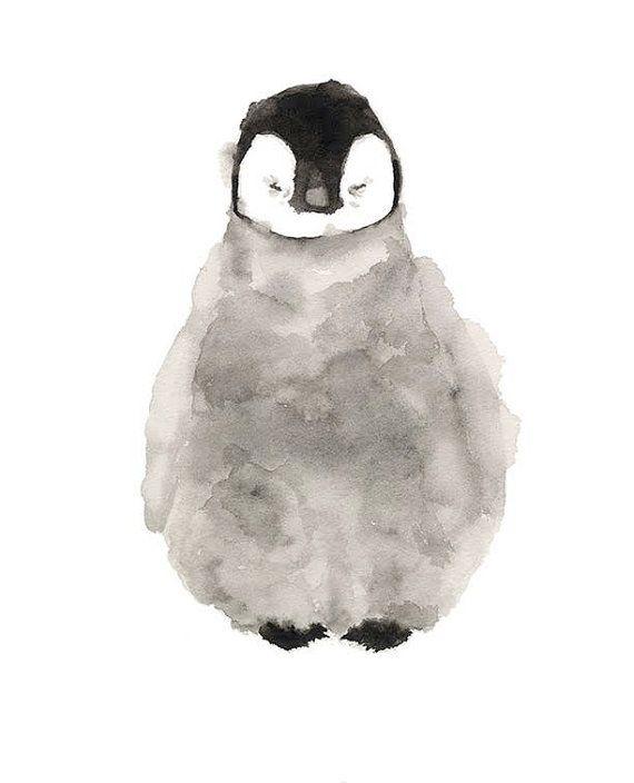 Pinguin Aquarell Print Von Tcsart Auf Etsy Aquarell Kunst